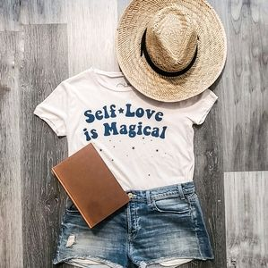 CHASER Self Love is Magical Cream Shirt Small